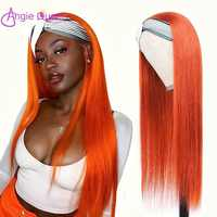 Diadema de onda recta hecha a máquina para mujer, peluca de cabello humano de Color naranja para mujer, cabello brasileño remy sin pegamento