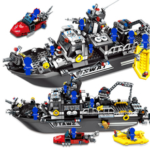 SEMBO 102467 Building Blocks City Swat Police Team Military Patrol Warship Boat model Kit Bricks educational Toys for Children new original banbao 8342 city patrol boat building blocks sets police boats model assemble bricks toys s213