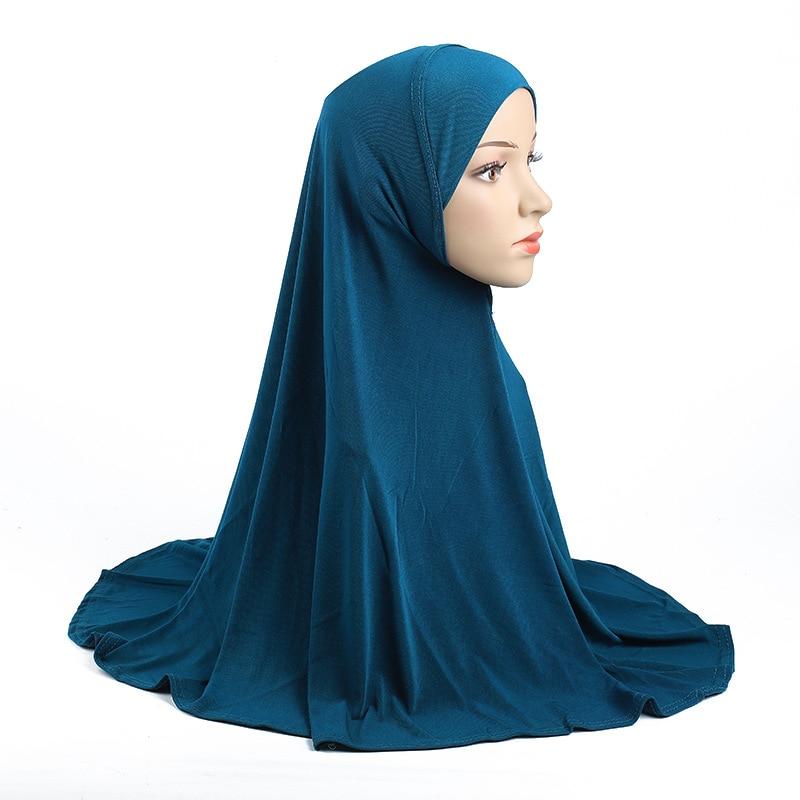 Simple Women Solid Color Muslim Hijab Turban Ramadan Prayer Hat Instand Hijabs Musulman Femme Full Cover Head Wraps Arab Hat