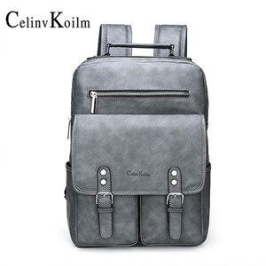 Celinv Koilm modny plecak ze skóry antykradzieżowej unisex, plecak na laptopa, nieprzemakalny plecak szkolny dla mężczyzn