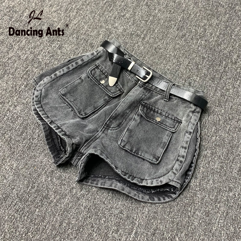 Woman Shorts High Waist Cotton A-line Wide-leg Short Jeans Korean Style Smoky Gray Female Loose Denim Short Trousers 2020 Summer