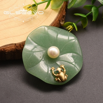 GLSEEVO Natural Fresh Water Pearl Aventurine Lotus Leaf Frog Brooches For Women Pendant Dual Use Fine Jewelry GO0051