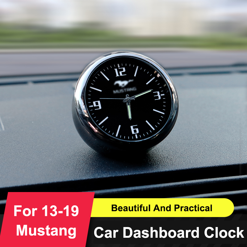 QHCP Car Dashboard Clock Ornaments Air Vent Outlet Clip Watch Decoration Stickers Mini Clock Time Fit For Ford Mustang 2013 2019