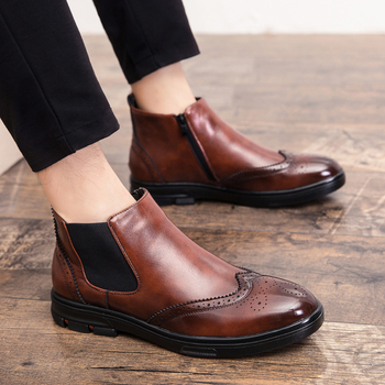 men casual business wedding formal dress cow leather brogue shoes carved bullock chelsea boots gentleman ankle boot zapatos bota