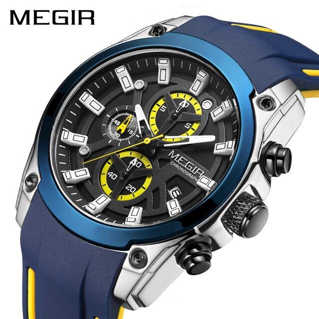 MEGIR 2020 Blue Sport Watches for Men Top Brand Luxury Chronograph Man Watch Military Quartz Clocks Luminous Relogio Masculino 1