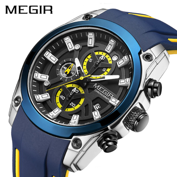 MEGIR 2020 Blue Sport Watches for Men Top Brand Luxury Chronograph Man Watch Military Quartz Clocks Luminous Relogio Masculino reef tiger brand chronograph sport watches for men dial skeleton fashion design luminous swiss quartz watch relogio masculino