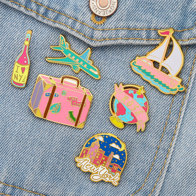 Cute Airplan Ship Wine Bottle Badge Pins Trunk Aircraft Sailboat Enamel Pin Brooches for Women Girl Boy Hat Shirt Jewelry Gift image