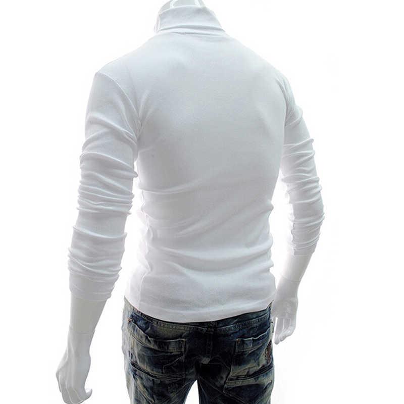 겨울 높은 목 두꺼운 따뜻한 스웨터 남자 터틀넥 브랜드 남성 스웨터 슬림 맞는 풀오버 남자 니트 남성 더블 칼라