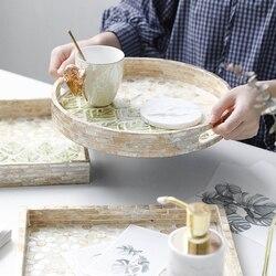 Decoración de la bandeja cuadrada, arte europeo de lujo de madera de Color de concha, productos para el cuidado de la piel, bandeja de almacenamiento de joyas, mesa de café, bandeja de baño