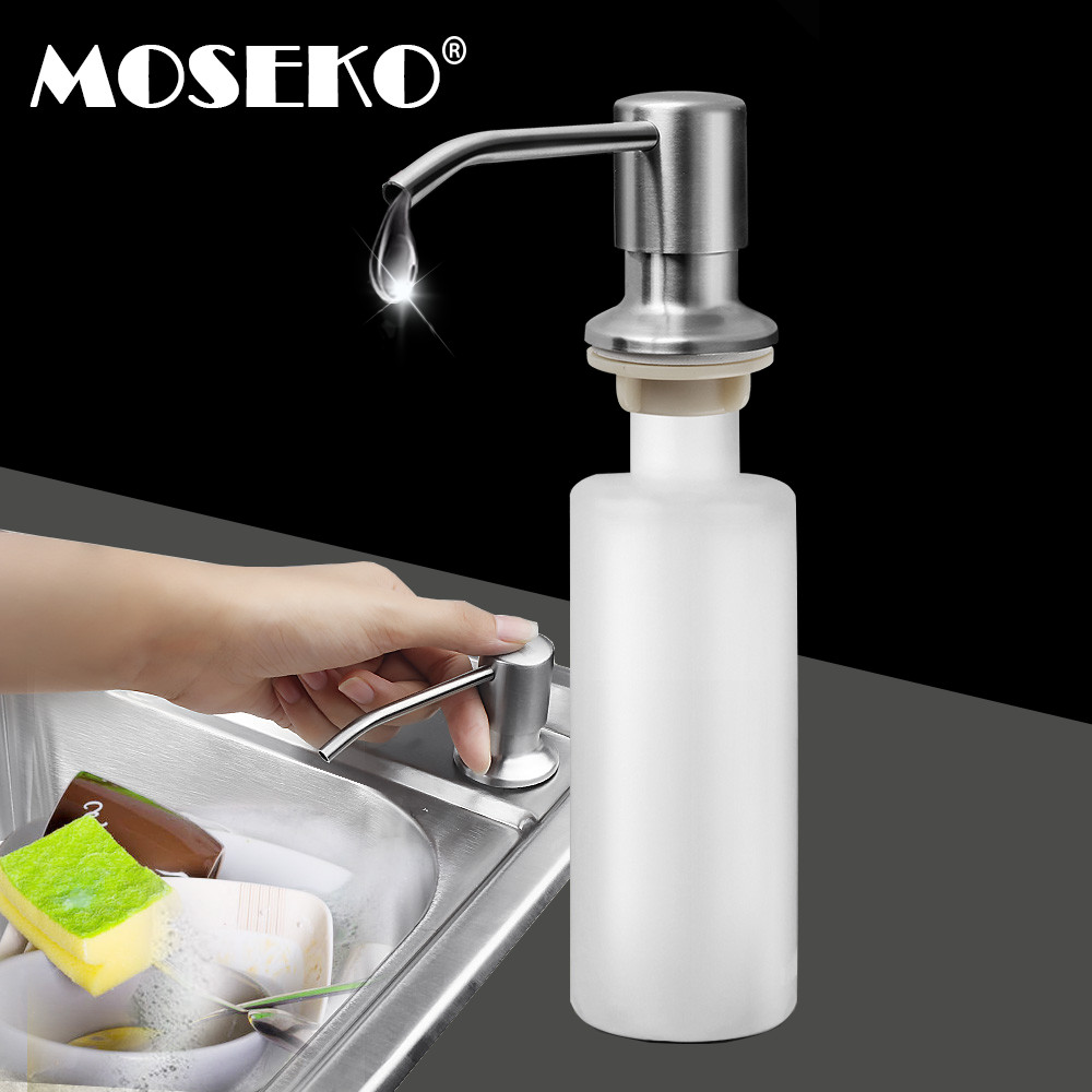 MOSEKO Stainless Steel Head Kitchen Soap Dispenser Pump Bathroom Detergent Dispenser For Liquid Soap Dispensers Lotion Tools