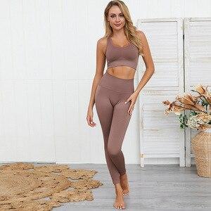Image 2 - Dikişsiz hyperflex egzersiz seti spor tayt ve üst set yoga kıyafetleri kadın spor atletik giyim spor setleri 2 parça