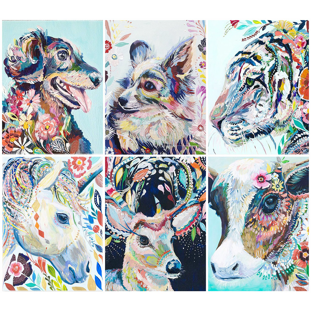 HUACAN 5D Diamond Embroidery Full Square Animal Painting Picture Handcraft Mosaic Art Kit Home Decoration