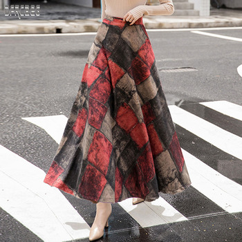 2019 New Autumn Winter Skirt Retro Plaid Elastic Waist Women Long Wool Skirt High Waist Elegant A-Line Pockets Skirt Femme diamond striped pleated skirt fashion elastic waist a line elegant long skirt for women autumn winter streetwear patchwork skirt