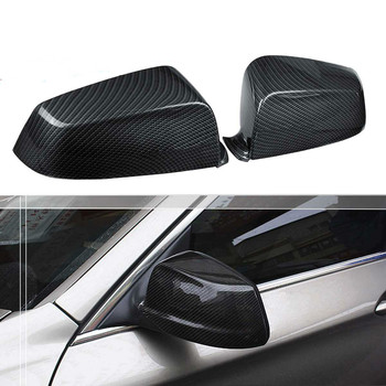 цена на 2PCS Car Auto Carbon Fiber Side Mirror Covers Caps Side Rearview Covers Set Fit for BMW E60 F10 5 Series 2008-2013