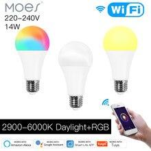 Moes-bombilla inteligente LED regulable WiFi, 14W, RGB C + W, Control del ritmo cardíaco, funciona con Alexa, Google Home, E27, 220-240V