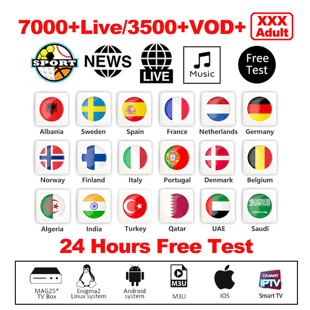 Best IPTV Arabic French Spain Portugal Dutch Sport Adult Xxx 7000+ Live 3500+ VOD Android APK MAG Smart TV Subscription IPTV M3U