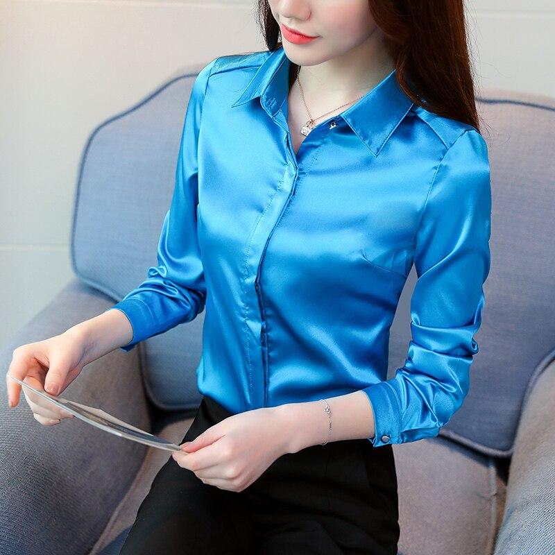 Women Silk Shirt Elegant Women Satin Blouses Shirts Blusas Mujer De Moda 2019 Korean Fashion Women Silk Blouses Shirt Plus Size