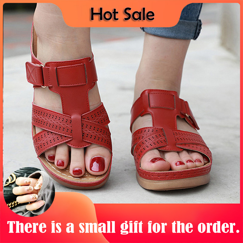Women's Sandals Premium Orthopedic Open Toe Sandals Vintage Anti-slip Breathable For Summer Soft Beach Sole Plus (Random Gift)