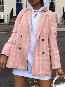 Blazer Coat Spring Long-Sleeve Beavant Pink Elegant Fashion Women Bottom Streetwear Autumn