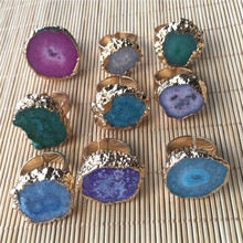 Hot Big Gold Rim Vintage Ring Retro Green Purple Geode Crystal Flower Agates Stone Slice Adjust Open Hammered Cuff for Woman Man(China)