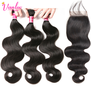Vanlov Human Hair 3 Bundles With Closure Brazilian Body Wave With Closure Remy Human Hair Bundles And Closure