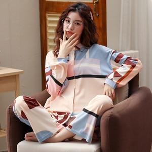 Image 3 - BZEL Mới Nữ Set Bộ Tay Dài Quần Dài Đồ Ngủ Dép Nữ Homewear Loungewear Hoạt Hình Váy Ngủ Pijama Bộ Pyjama