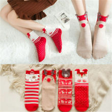 Christmas Stockings Gift Bag Women Girls Cute Animal Cartoon Red Socks Cotton Short Warm Sock
