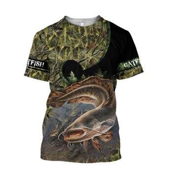 Catfish camo Fishing T Shirt All Over Print
