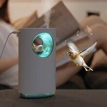 Música umidificador de ar calmante stress aliviar natureza pássaro canção 400ml usb aroma difusor do óleo essencial lâmpada umidificador atomizador