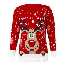Christmas Reindeer Printed Sweater Popular Women O-Neck Long Sleeve Tops 2019 Ho