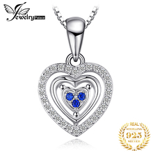 купить JewelryPalace Heart Love Round Created Blue Spinel Pendant 100% 925 Sterling Silver Woman Fashion Jewelry  Not Include A Chain дешево