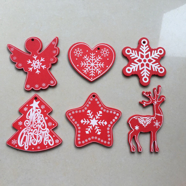 New Year Natural Wood Christmas Ornaments Hanging Pendant – (5cm size)
