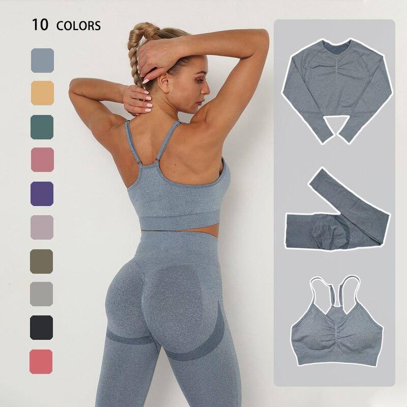 Conjunto de Yoga sin costuras para mujer, ropa deportiva para gimnasio, Top corto de manga larga para Fitness, Leggings de cintura alta y Sujetador deportivo