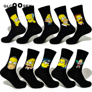 Image 4 - 10 Pairs/Pack Simpson family Funny Happy Cotton Couple Lovers Socks Black Mid High Cute Socks for Men and Women Socks College