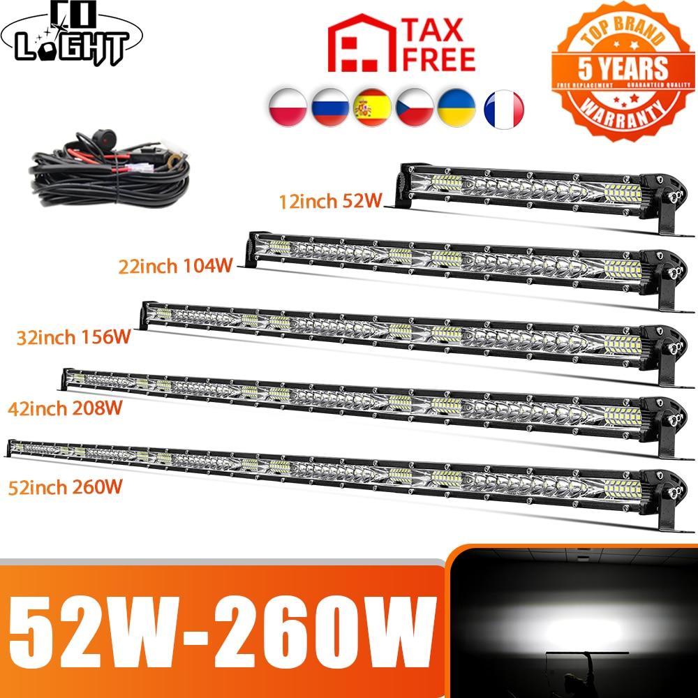 CO LIGHT 52W 104W 156W 208W 260W Off Road Led Light Bar Slim Combo LED Driving Lights for 4x4 Truck SUV ATV Tractor Boat 12V 24V