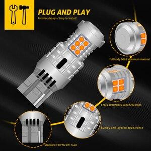 Image 5 - 2 pces carro 7440 led sem hyper flash âmbar amarelo laranja t20 w21w 1156 7507 bau15s p21w py21w lâmpadas led transformar luzes de sinalização canbus