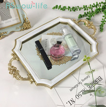 European Retro Resin + Mirror Tray Rectangular Crafts Ornaments Trays Cosmetics Storage Tray Serving Trays For Home Storage retro household rectangular tea fruit tray jewelry luxury resin mirror beauty salon spa essential oil tray serving trays