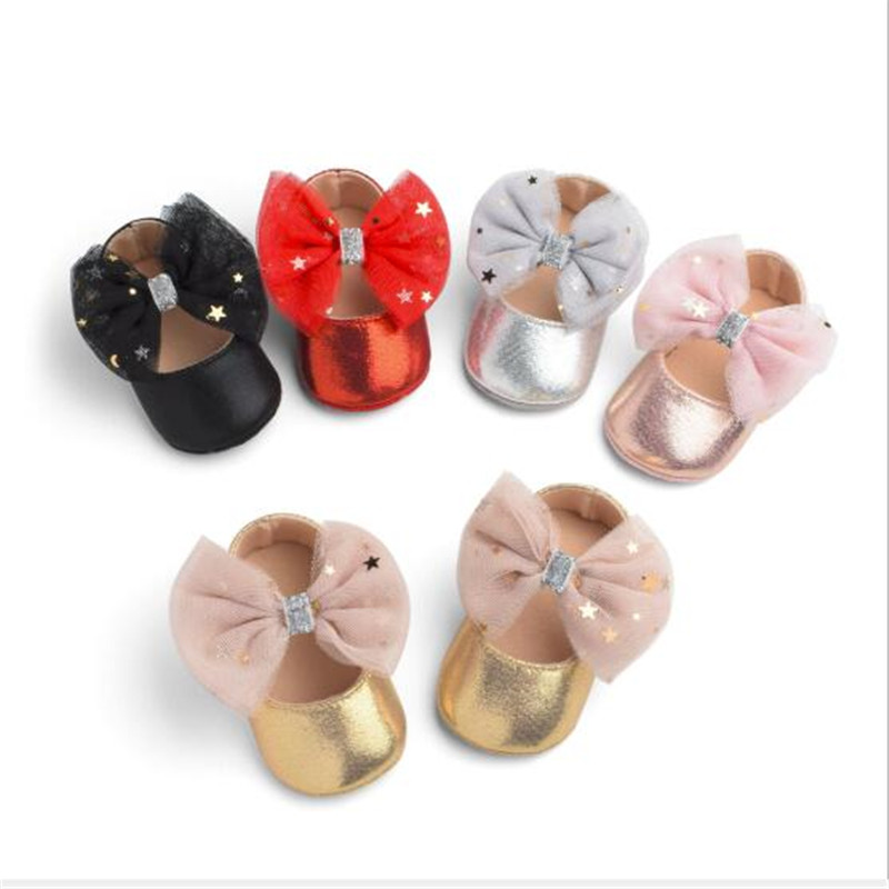 Big Bowknot Baby Shoes Cute Infants PU First Walkers Soft Sole Baby Crib Shoes Kids Girls Princess Shoes
