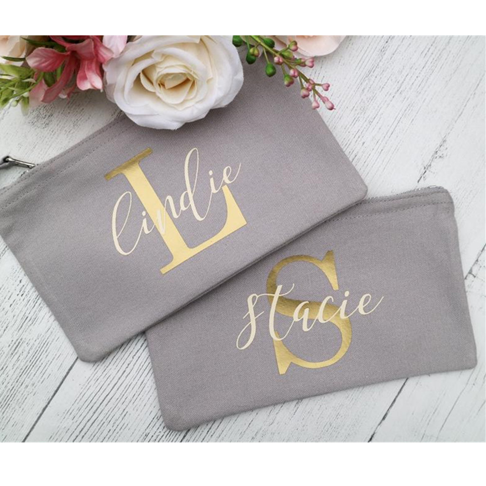 Bride squad makeup Bag foil gold Toiletry Bags customize bridesmaid Make Up Bags bachelorette Cosmetic bag wedding proposal gift