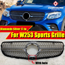front grille suitable for glc class w253 gtr 2015 2018 x253 glc200 glc250 glc300 glc450 glc63 grille without central logo W253 Diamond Style With Camera Sports Grills For GLC-Class GLC250 GLC350 GLC400 ABS Silver look Front Grille Without sign 2017-