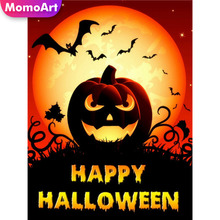 MomoArt 5D Halloween Diamond Painting Cartoon Pumpkin DIY Full Drill Square Rhinestone Embroidery Home Decoration