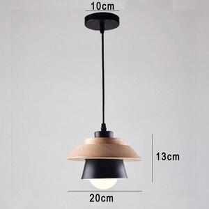Image 2 - 北欧装飾ペンダントライトサスペンション照明器具、 E27 アルミ木製ペンダントランプ現代の照明器具黒、白