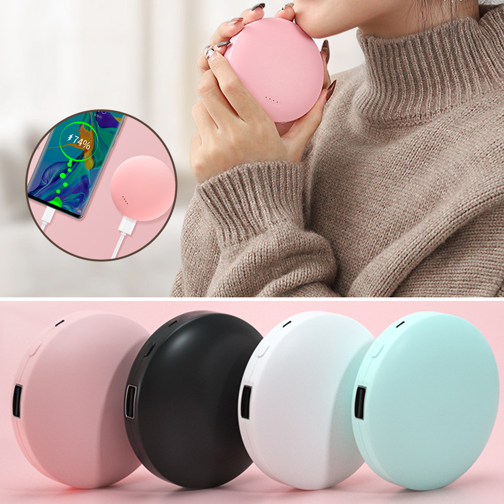 Round 2 In 1 Portable Mini Hand Warmer USB Rechargeable Electric Hand Warmer Pocket 3000MAh Power Bank Double-Side Heating