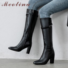 Meotina Winter Knee High Boots Women Natural Genuine Leather Thick High Heel Long Boots Zipper Round Toe Shoes Lady Autumn 34-39 woman genuine leather platform square heel knee high boots round toe side zipper dress winter boots black