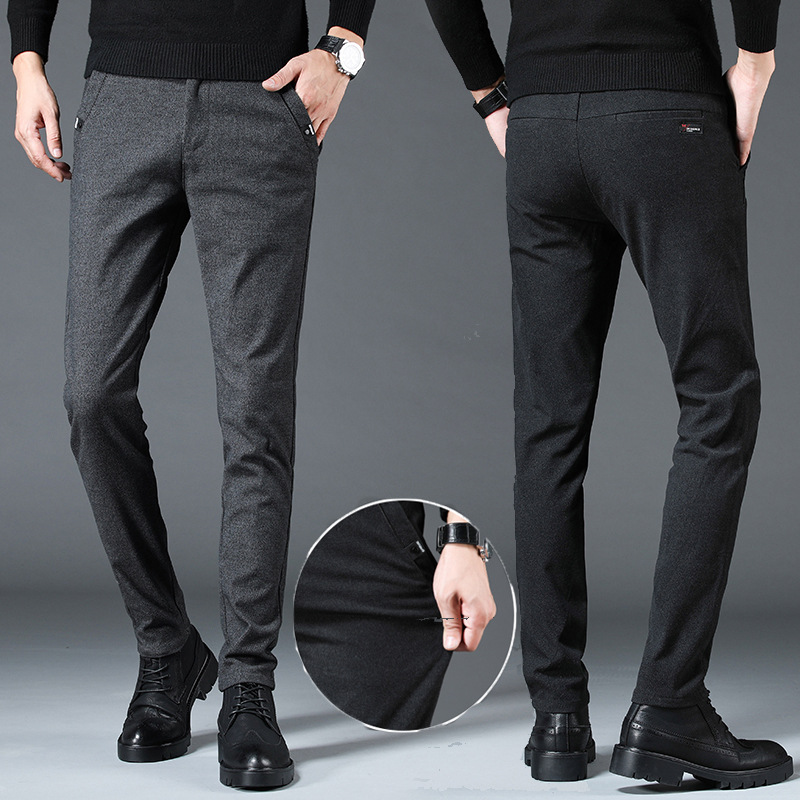 Pants Autumn And Winter MEN'S Casual Pants Slim Fit Elasticity Skinny Pants Korean-style Fashion Men's Trousers Youth Cone Type