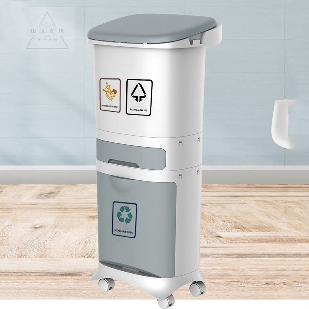 Couvercle plastique de rangement des ordures à Double niveau 42L /38L/15L | Grandes poubelles de cuisine, poubelle de tri des déchets, couvercle à Double pont classifié seau de rangement de la poubelle