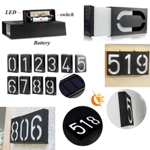 Door Number Light Solar Wall Sign Lamps Waterproof LED 6LED Outdoor Digital Doorplate