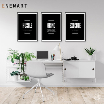 Inspirational Quote Posters Entrepreneur Wall Art Picture Hustle Grind Execute Canvas Print Motivational Office Painting Decor image