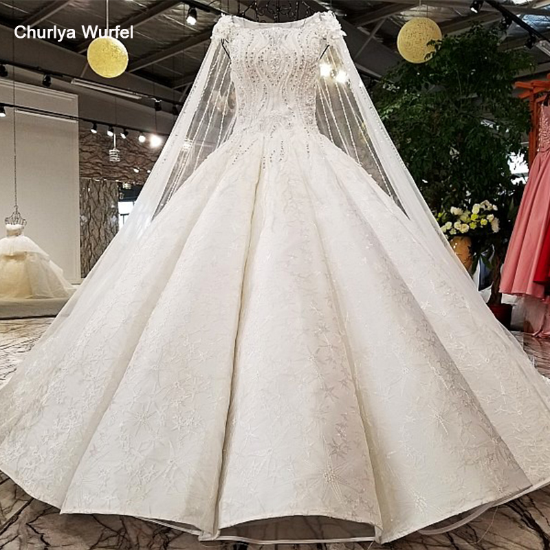 LS96410 Super Big Puffy Wedding Dresses Long Cape Like White Color Zipper Back OEM Accepted Wedding Gown Dresses Lovely Girl