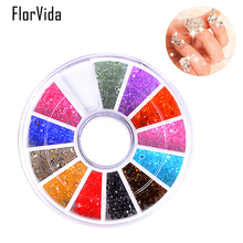 FlorVida 1 Wheel 12 Colorful Sharp Bottom Clear Rhinestone Beauty 3D Nail Art Decoration Strass